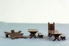 Terrain 4 Print: Fantasy/Historic tables, benches, chairs and bear rug.