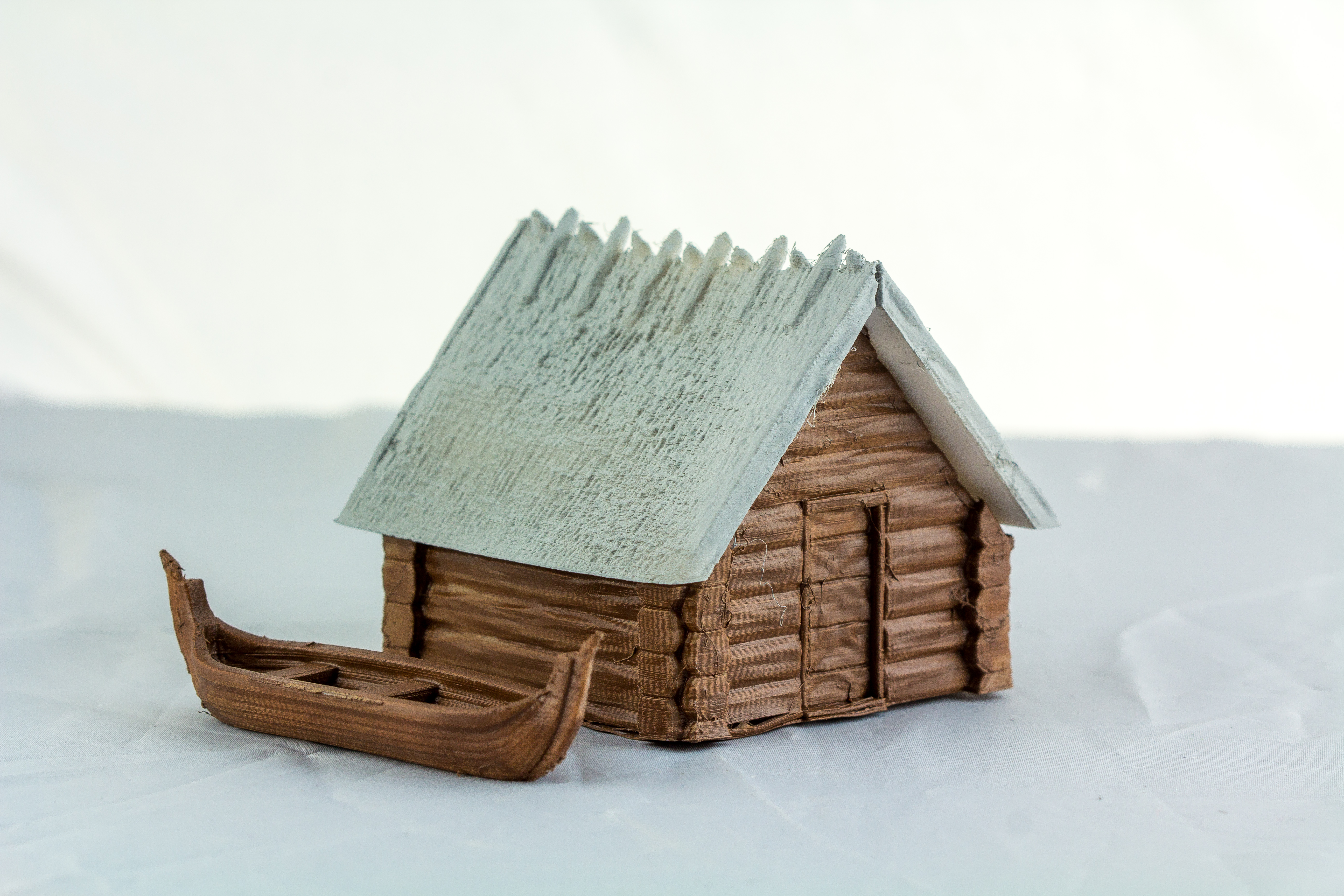 Painted Viking House and Viking Boat - Terrain 4 Print
